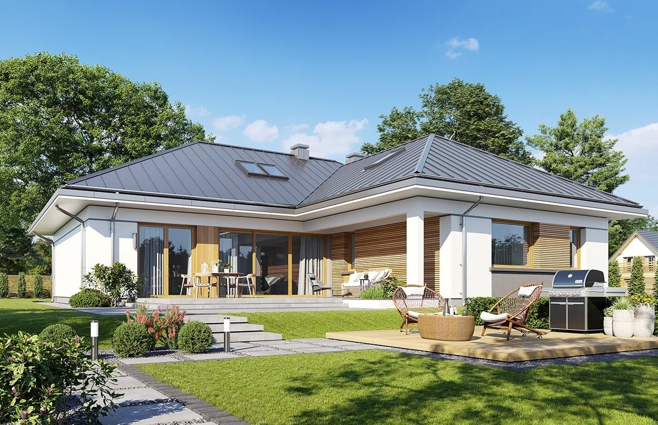 Projekt domu Willa parterowa 4 - wizualizacja ogrodowa odbicie lustrzane