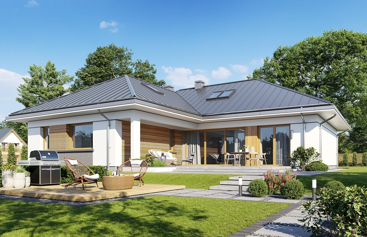 Projekt domu Willa parterowa 4 - wizualizacja ogrodowa