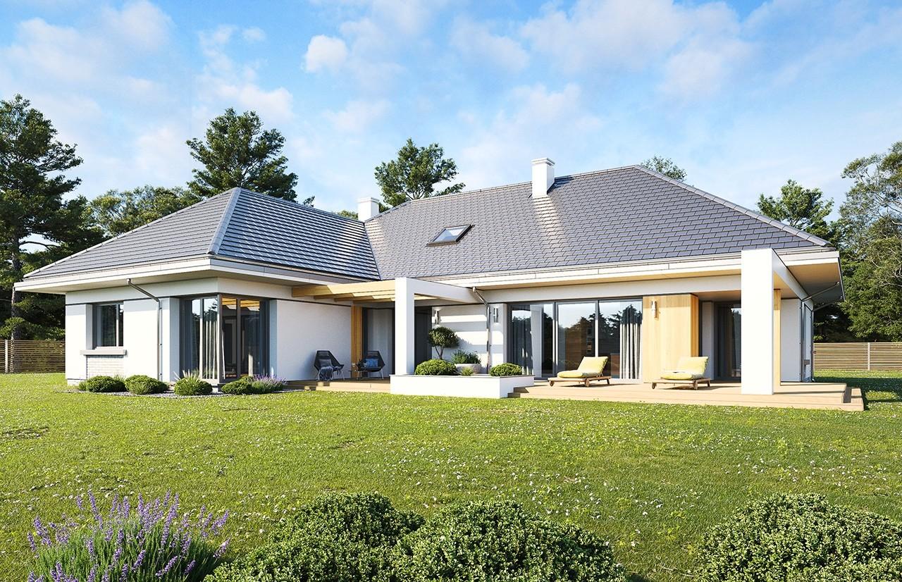 Projekt domu Willa Parterowa wariant B wizualizacja tylna