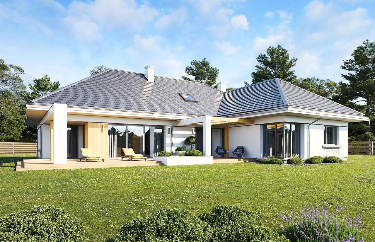 Projekt domu Willa Parterowa wariant B wizualizacja tylna odbicie lustrzane