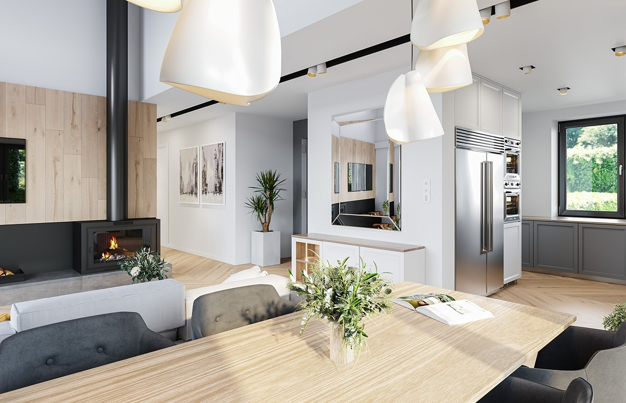 Projekt domu Willa rodzinna - wizualizacja wnętrza odbicie lustrzane