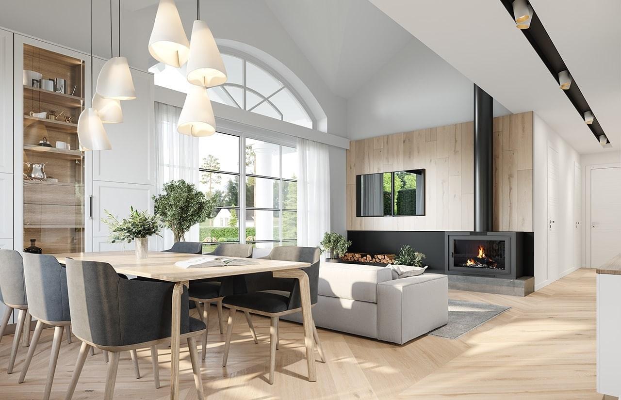 Projekt domu Willa rodzinna 2 - wizualizacja wnętrza odbicie lustrzane