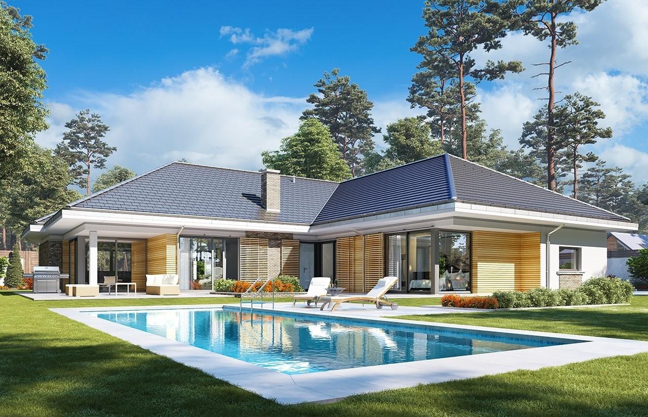 Projekt domu Wyjątkowy wariant B - wizualizacja tylna