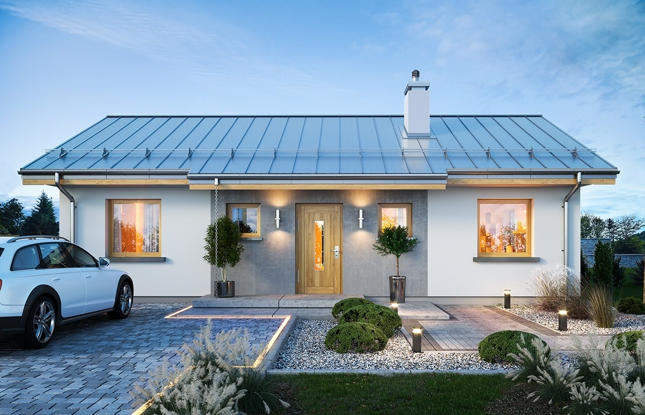 Projekt domu Sensowny - wizualizacja frontu odbicie lustrzane