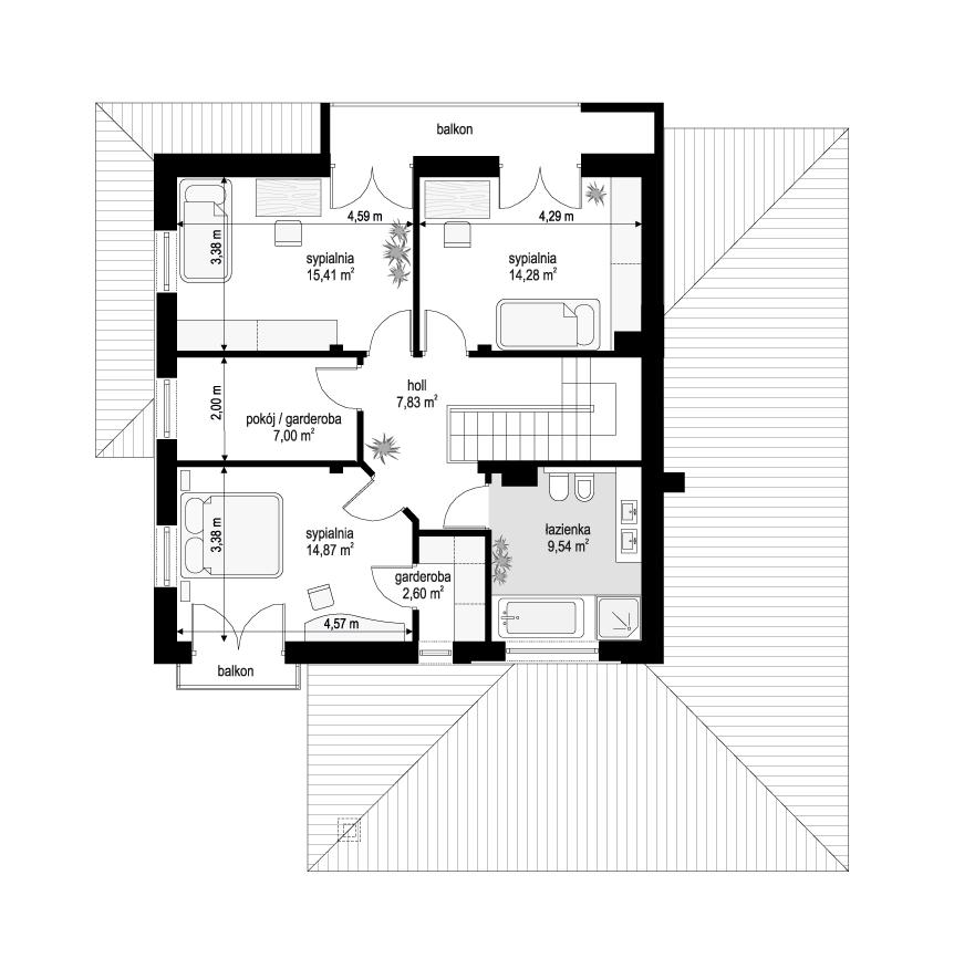 Szmaragd 5 wariant B - rzut piętra