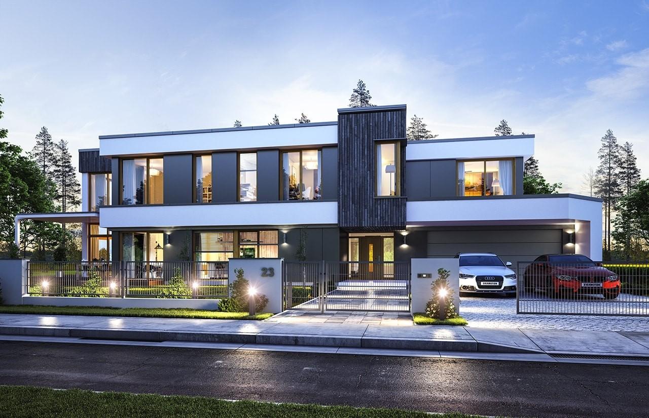 Projekt domu Willa moderna - wizualizacja frontowa