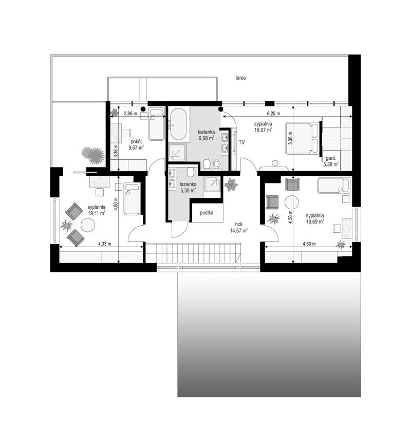 Willa słoneczna - rzut piętra