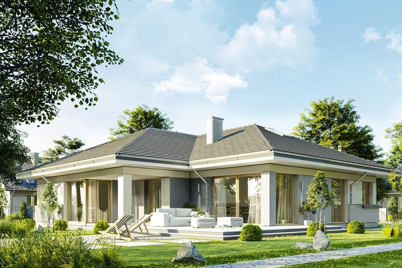 Projekt domu Doskonały 2 C - wizualizacja tylna odbicie lustrzane