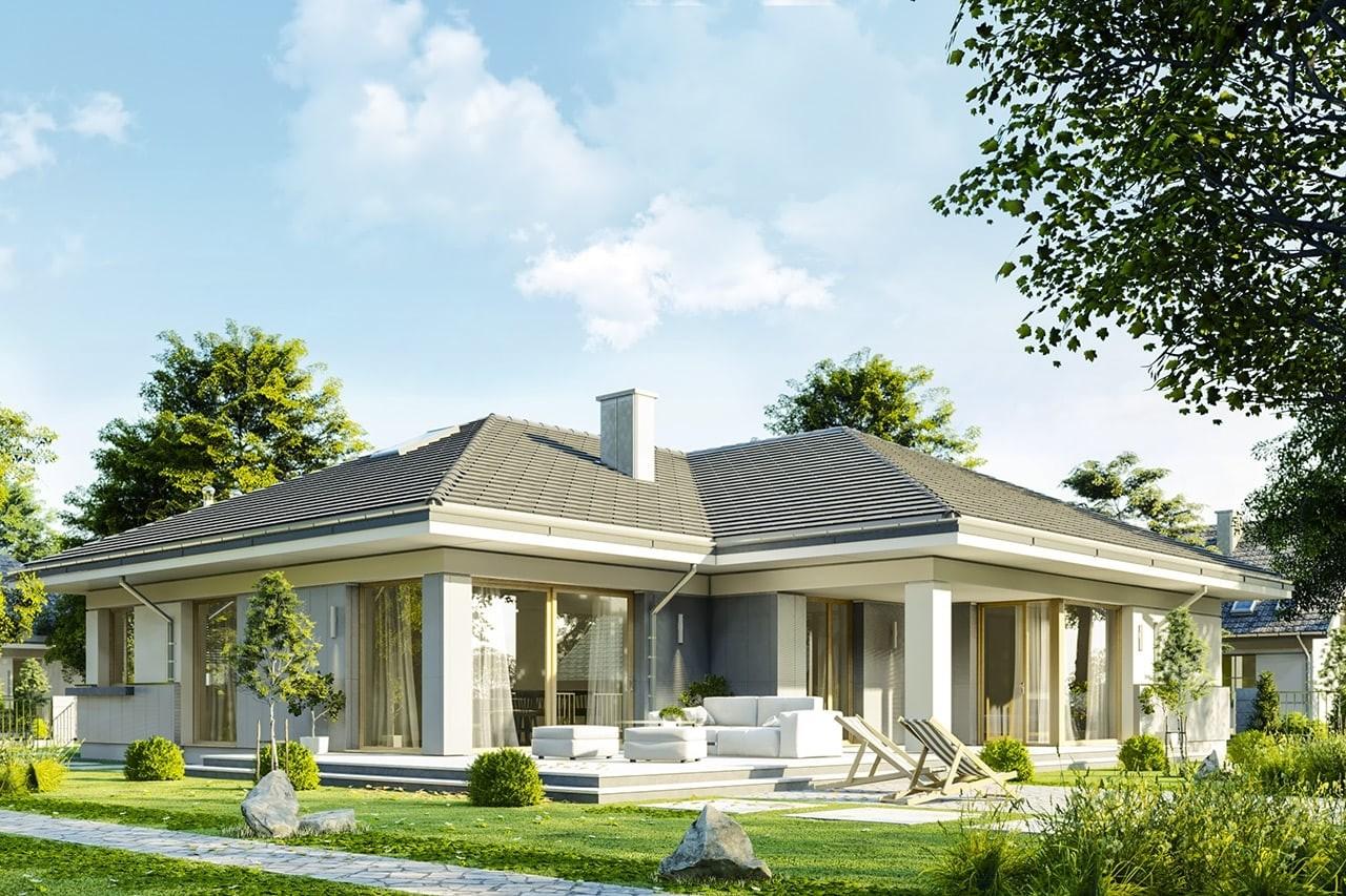 Projekt domu Doskonały 2 C - wizualizacja tylna