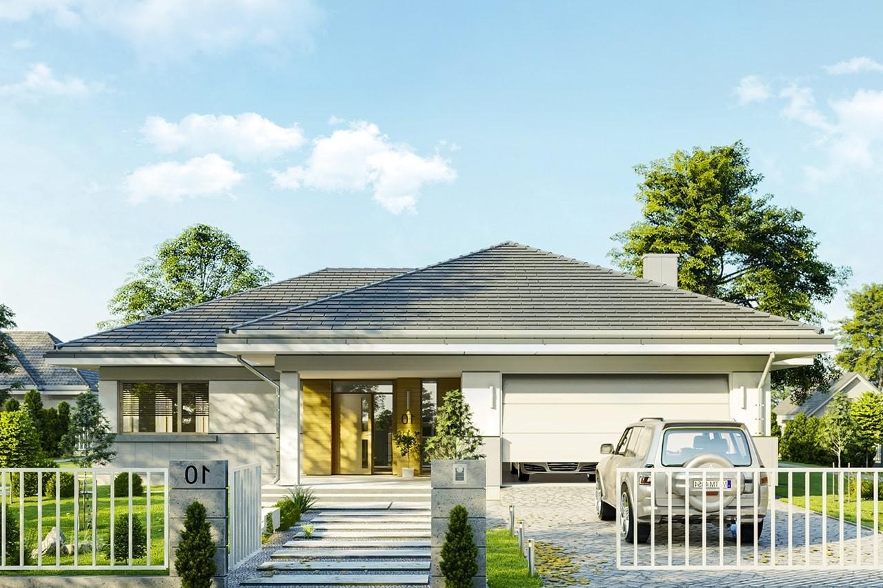 Projekt domu Doskonały 2 C - wizualizacja frontowa odbicie lustrzane