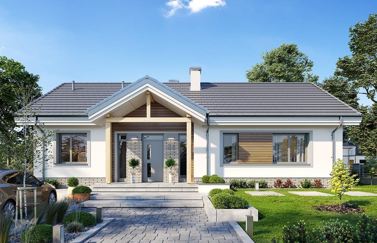 Projekt domu Willa rodzinna - wizualizacja frontu odbicie lustrzane