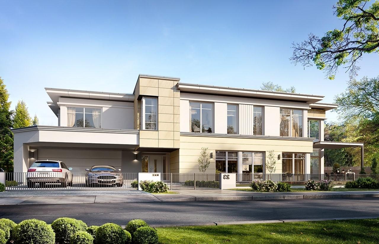 Projekt domu Willa moderna 2 - wizualizacja frontowa odbicie lustrzane