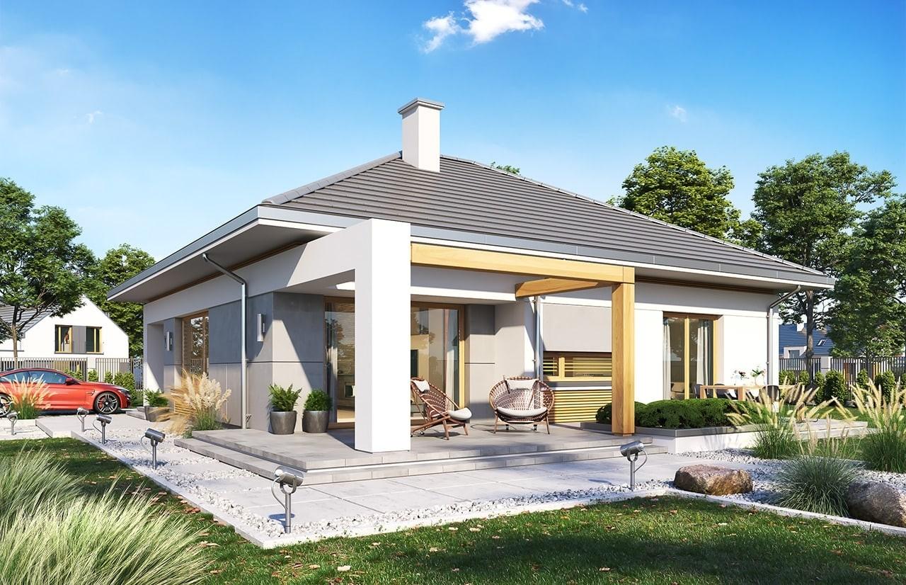 Projekt domu Wspaniały - wizualizacja tylna odbicie lustrzane