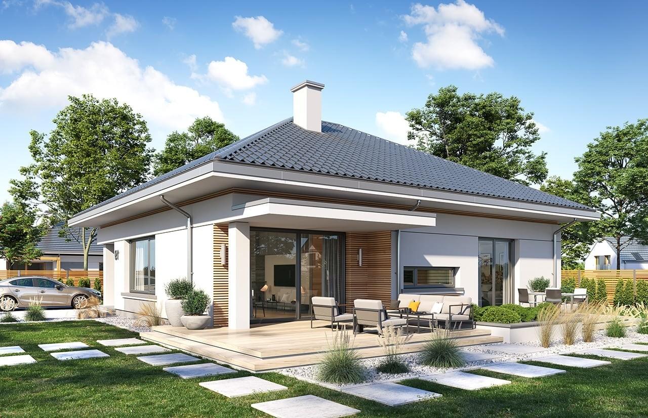 Projekt domu Wspaniały 2 - wizualizacja tylna odbicie lustrzane