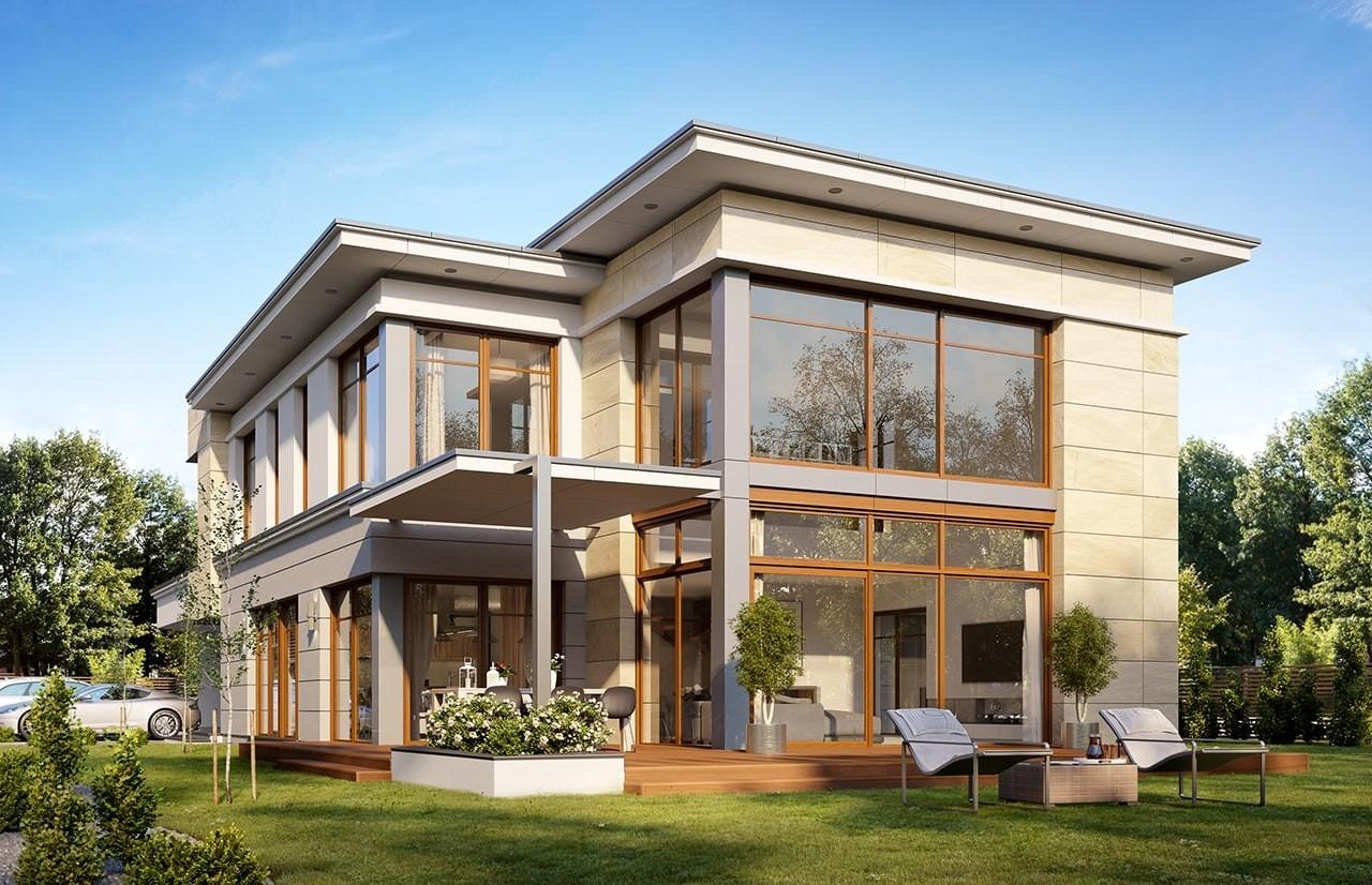 Projekt domu Willa moderna 2 - wizualizacja boczna odbicie lustrzane
