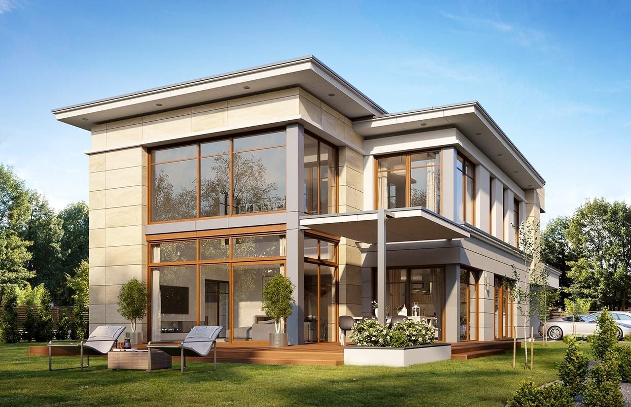 Projekt domu Willa moderna 2 - wizualizacja boczna
