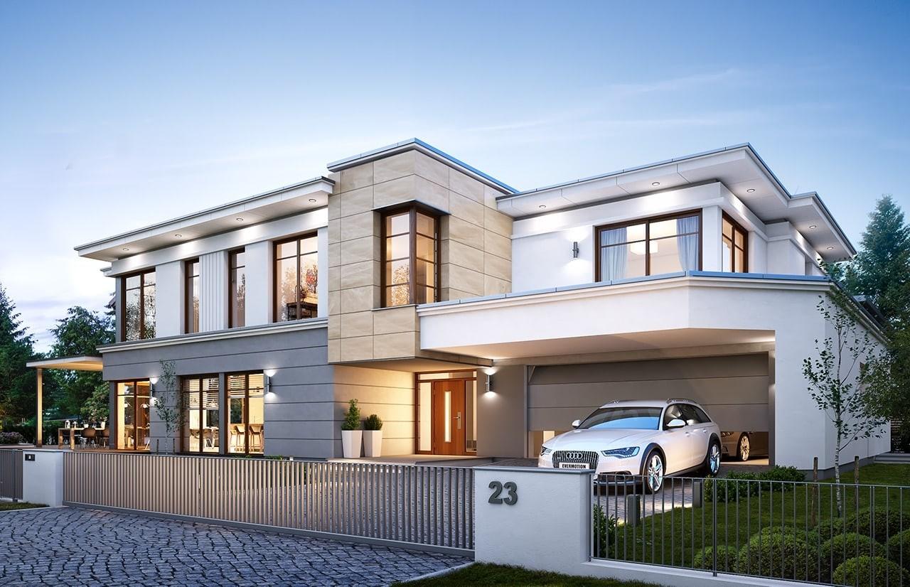 Projekt domu Willa moderna 2 - wizualizacja frontowa