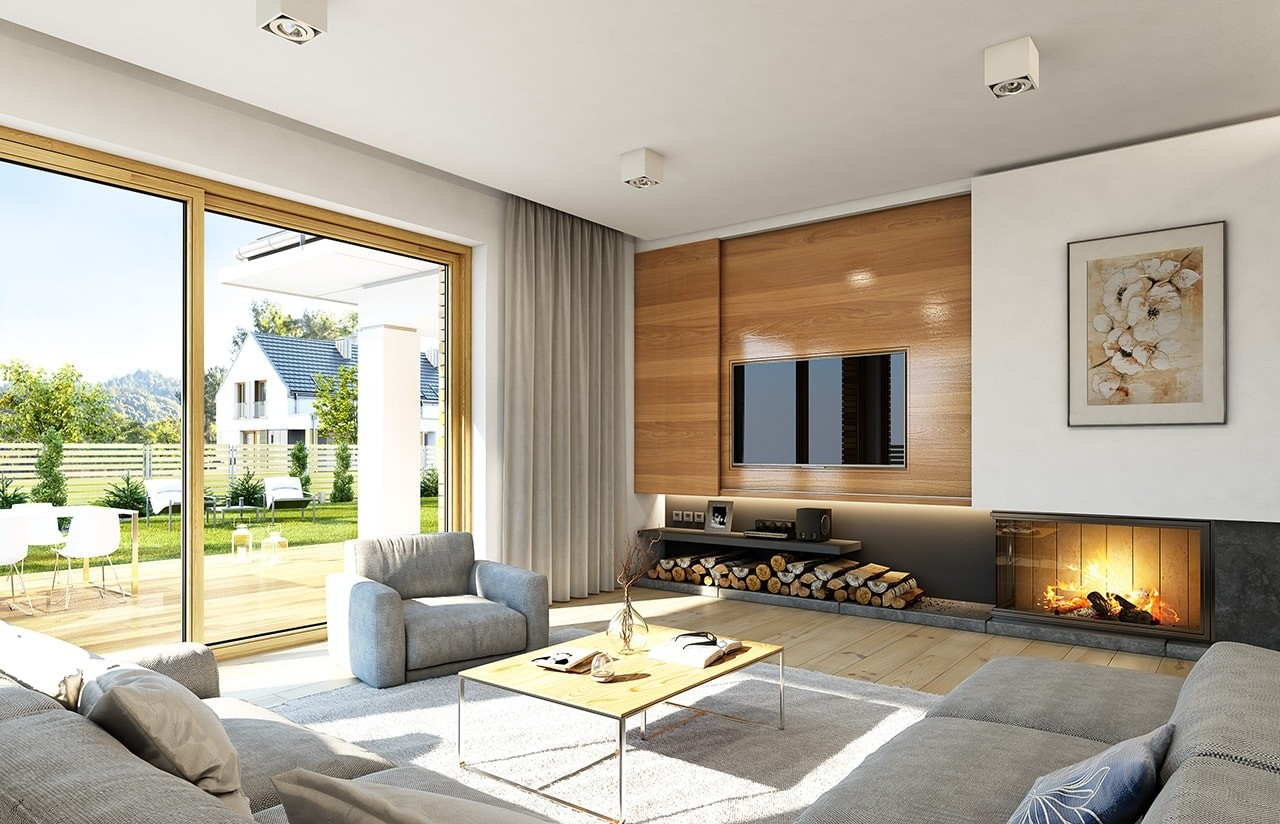 Wnętrze domu Doskonały odbicie lustrzane