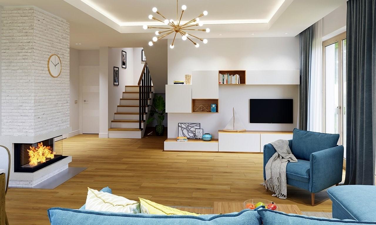 Wnętrze domu Idealny odbicie lustrzane