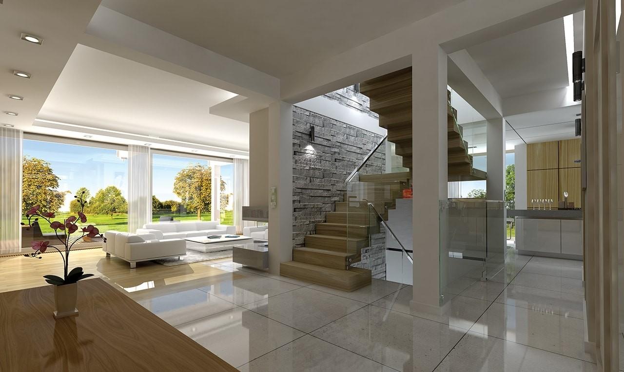 Wnętrze domu Otwarty wariant B - wizualizacja wnętrza odbicie lustrzane