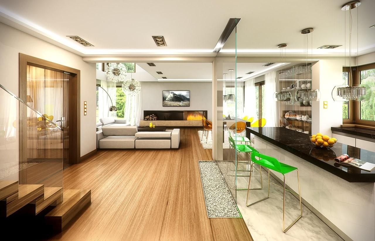 Wizualizacja wnętrza Projektu domu Riwiera 3 wariant E odbicie lustrzane