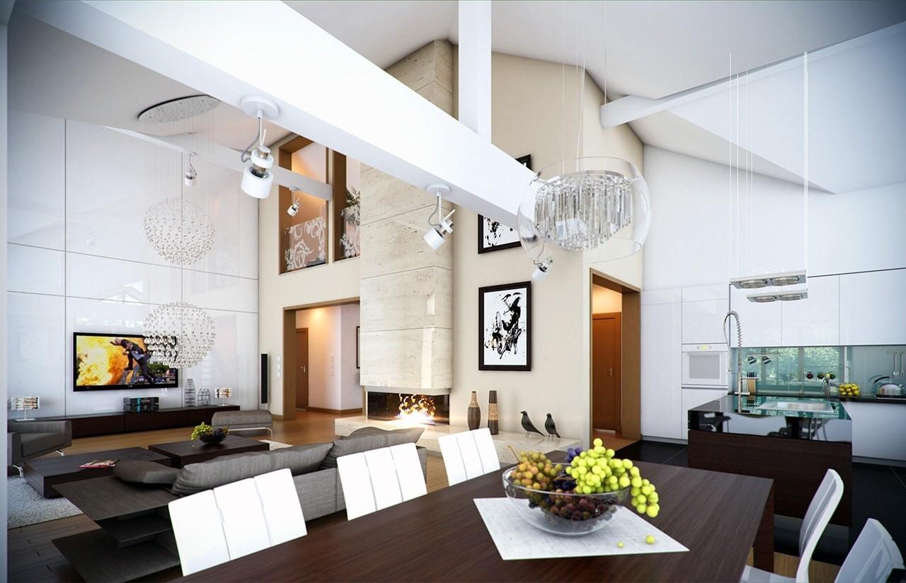 Wnętrze domu Rozłożysty odbicie lustrzane