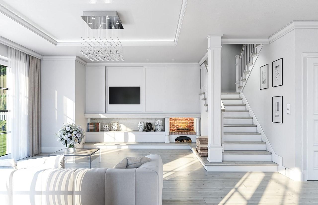 Wizualizacja wnętrza - Projekt domu Willa diamentowa wariant b - odbicie lustrzane