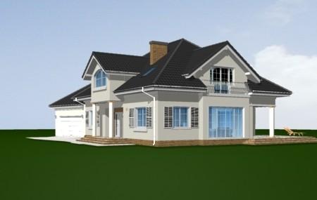 Animacja - Projekt domu Dom z kolumnami