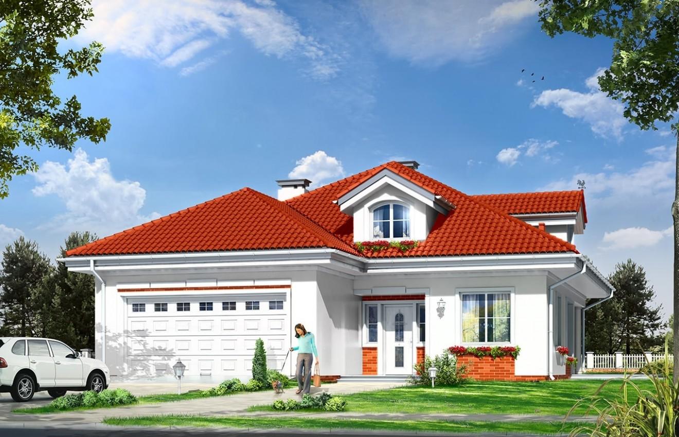 Projekt domu Afrodyta - wizualizacja frontowa