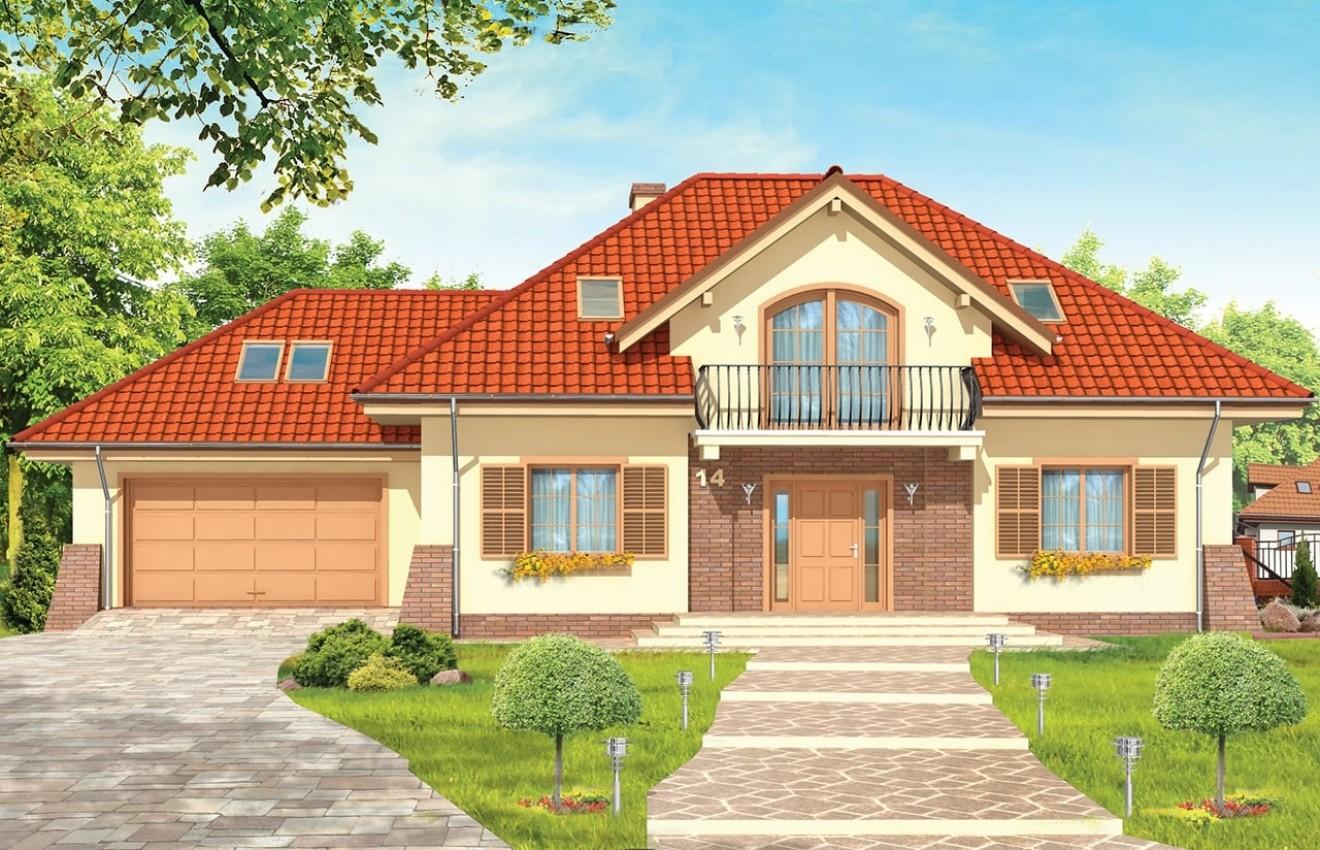 Projekt domu Benedykt 2 - wizualizacja frontu