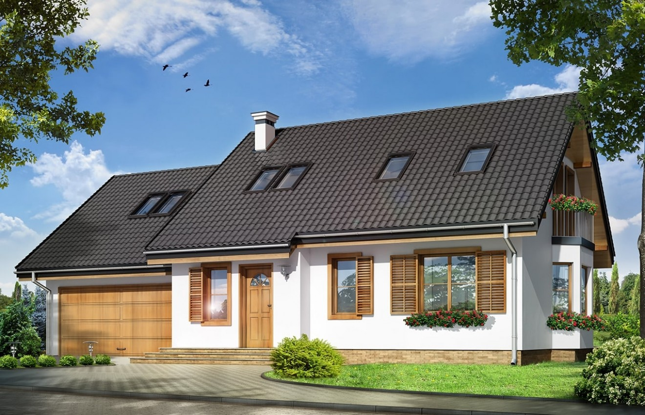 Projekt domu Bryza 2 - wizualizacja frontowa