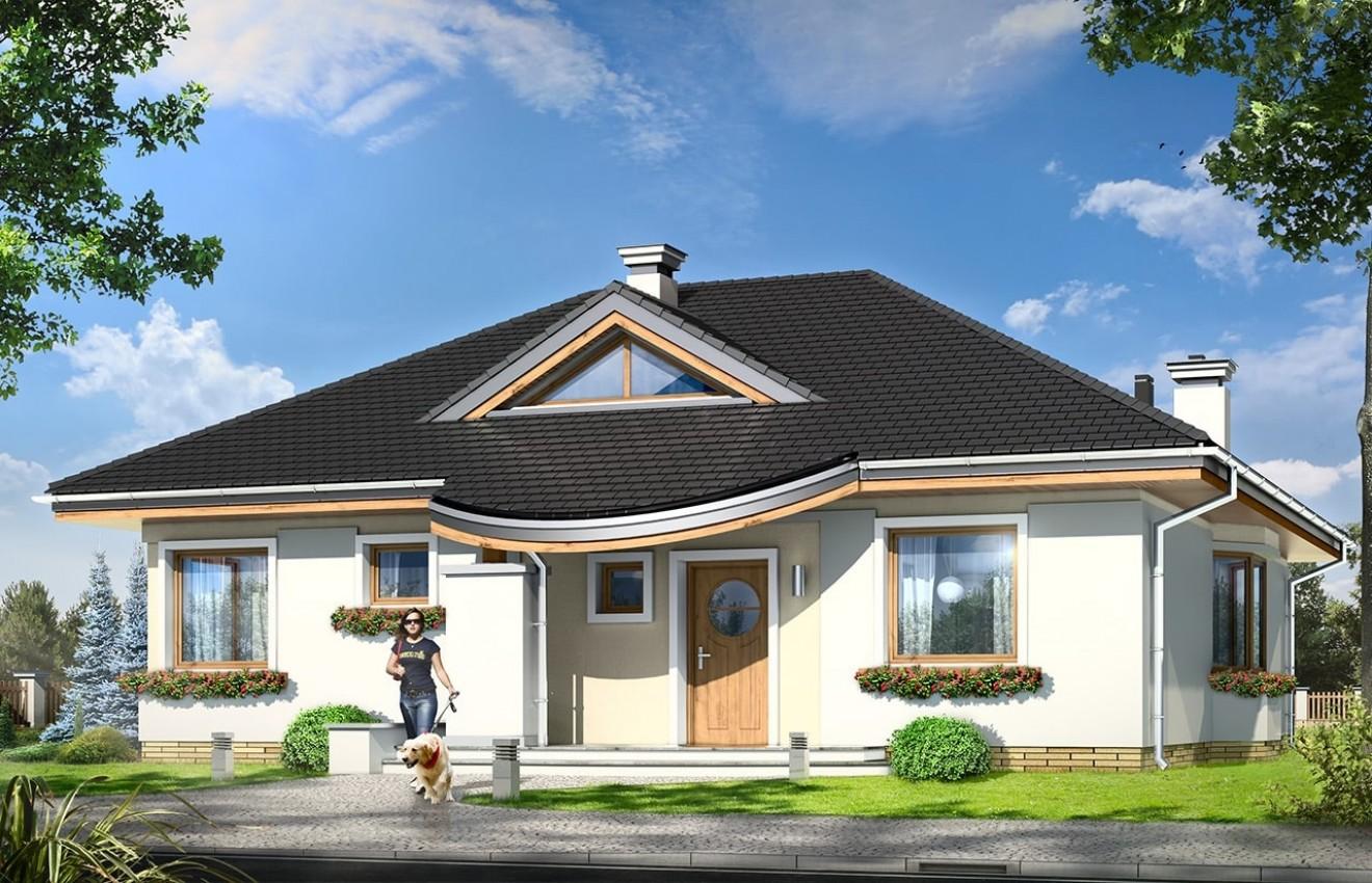 Projekt domu Bukszpan - wizualizacja frontowa