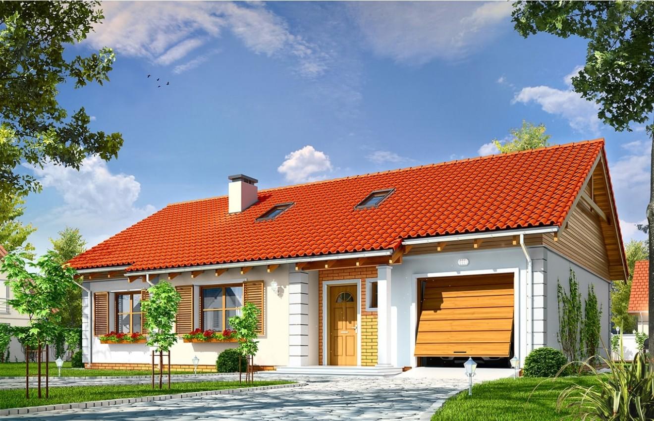 Projekt domu Bursztyn 2 - wizualizacja frontowa