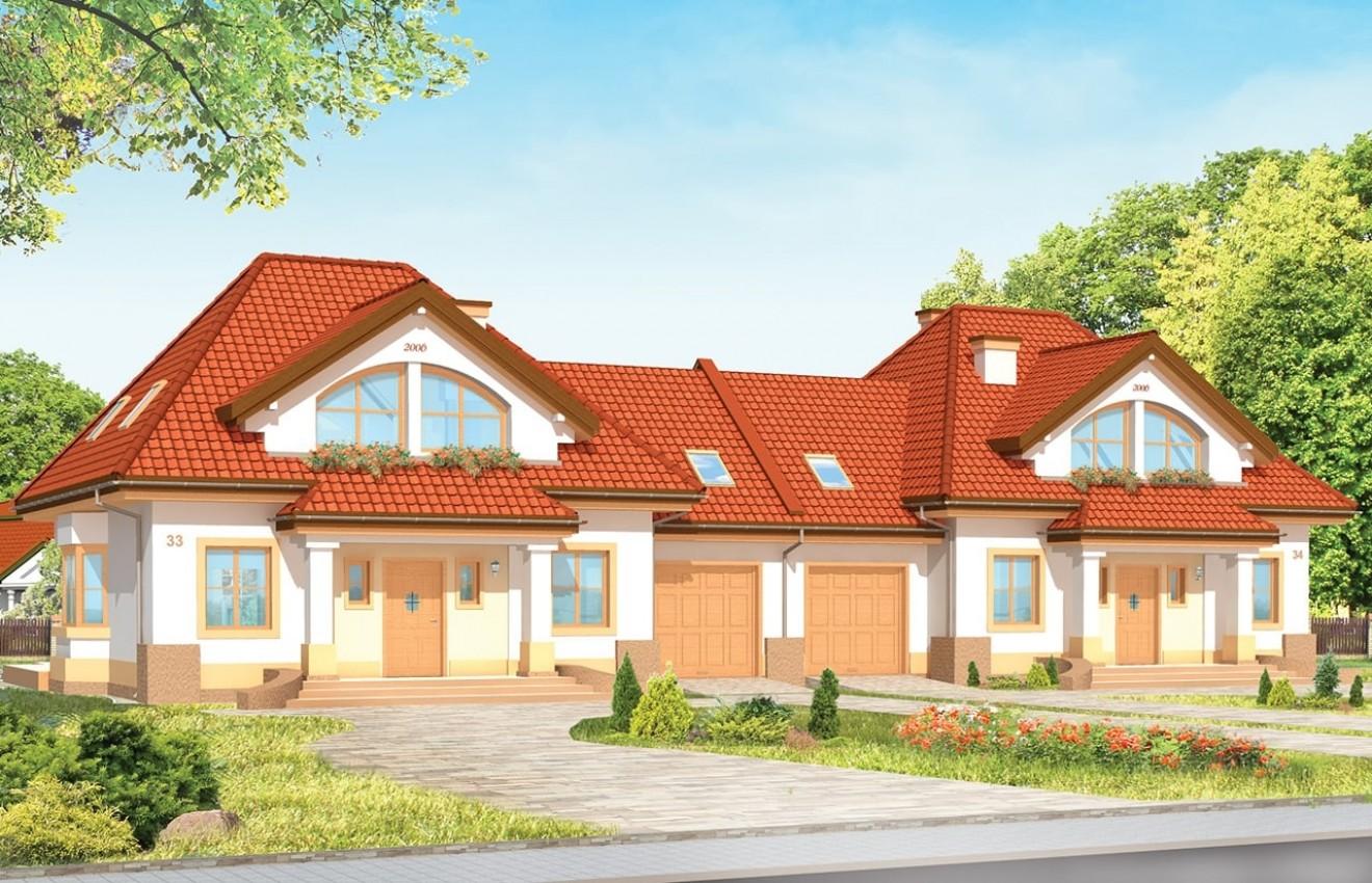 Projekt domu Dom na medal - bliźniak  - wizualizacja frontu