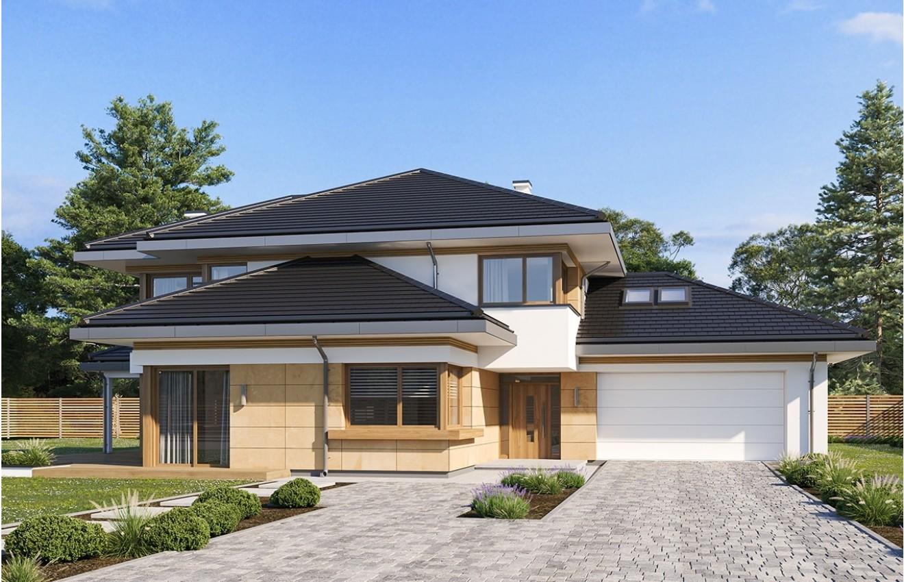 Projekt domu Dom z widokiem 3 wariant b wizualizacja frontu
