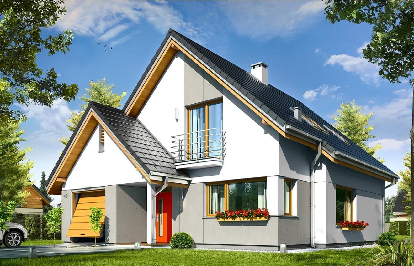 Projekt domu Konwalia - wizualizacja frontowa