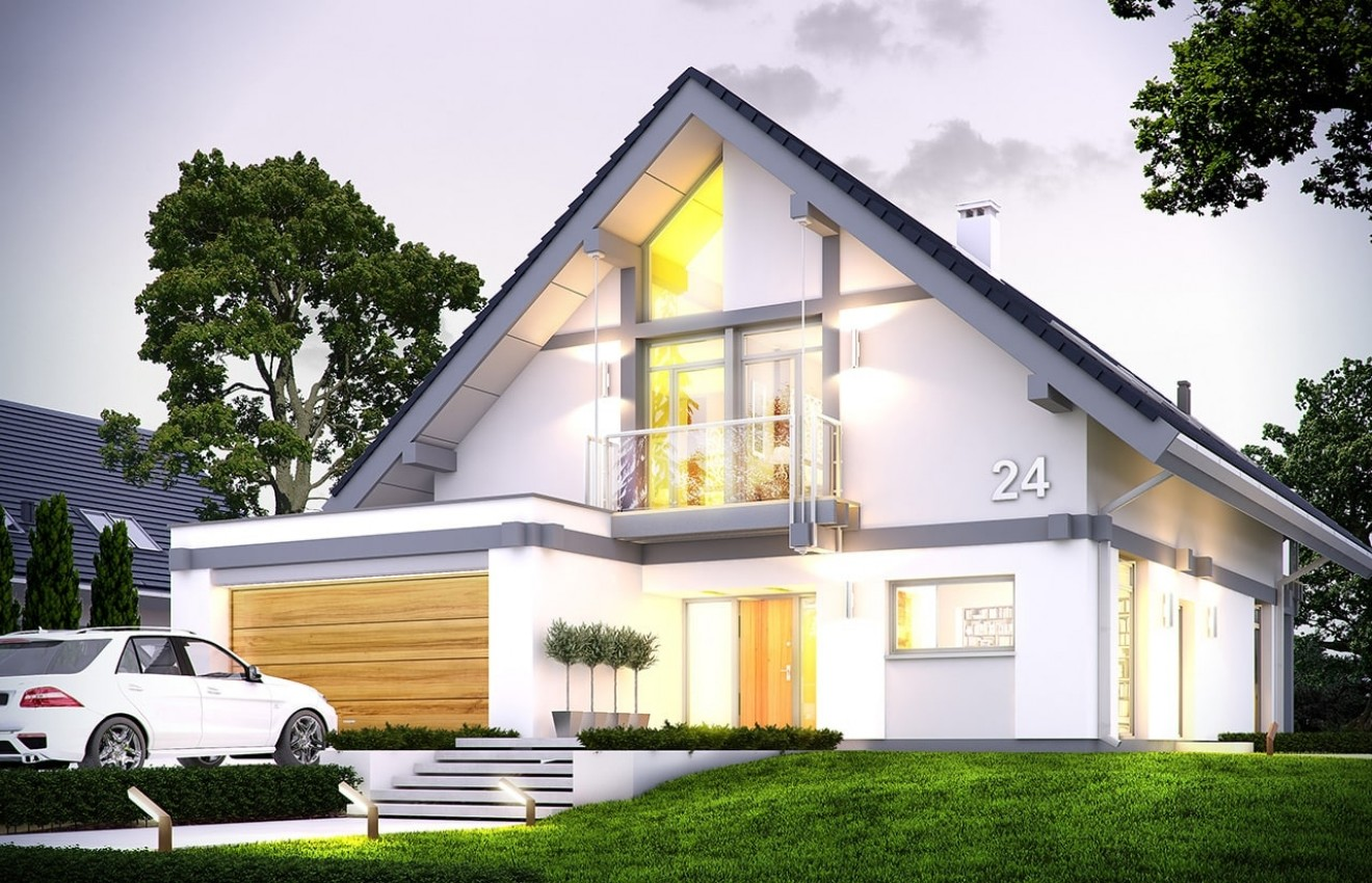 Projekt domu Otwarty 4 - wizualizacja frontowa