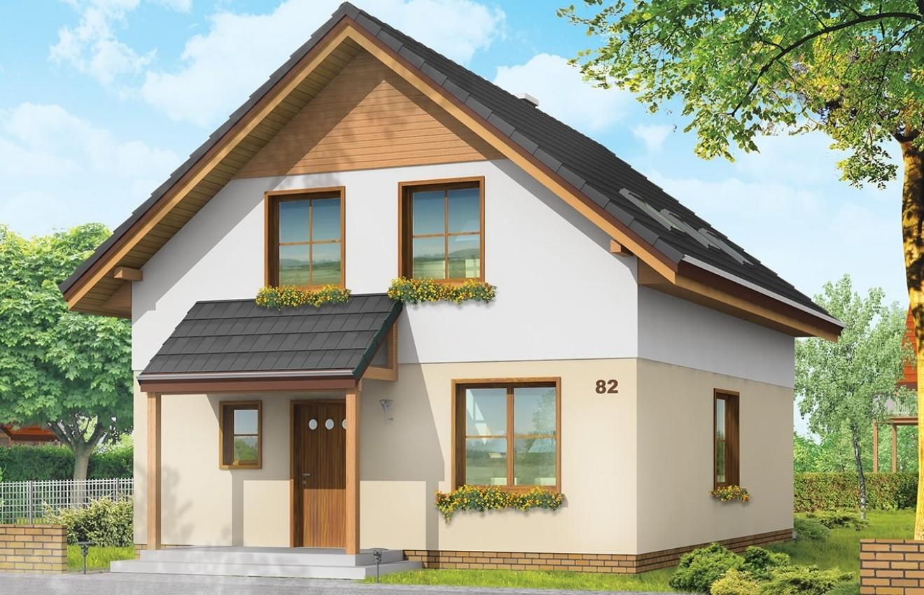 Projekt domu Praktyczny A - wizualizacja frontowa