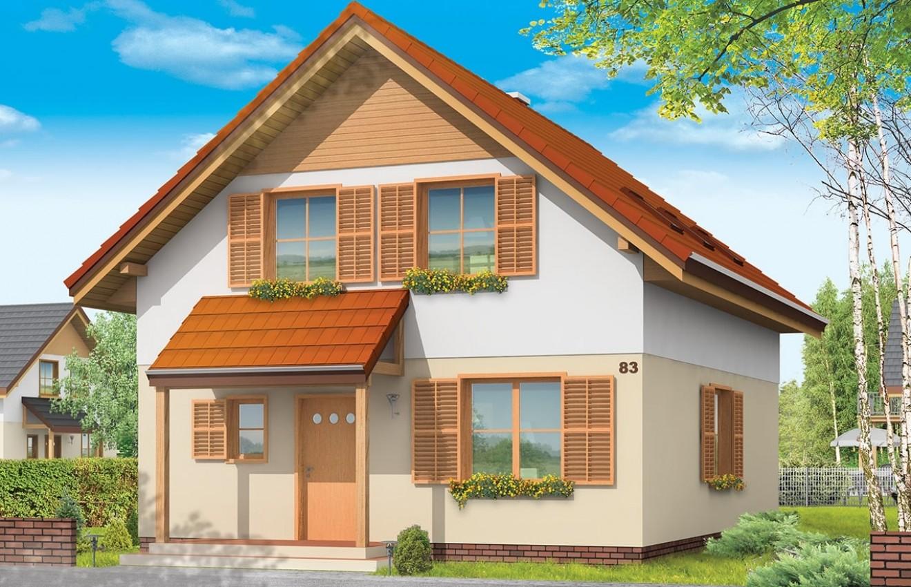 Projekt domu Praktyczny B - wizualizacja frontowa
