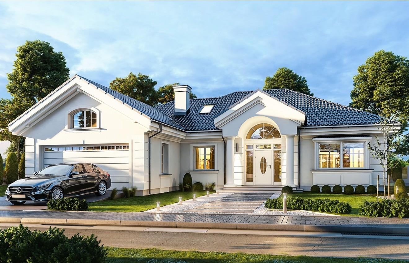 Projekt domu Willa Parkowa B - wizualizacja frontowa