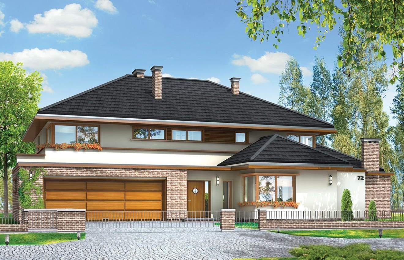 Projekt domu Willa z basenem - wizualizacja frontowa