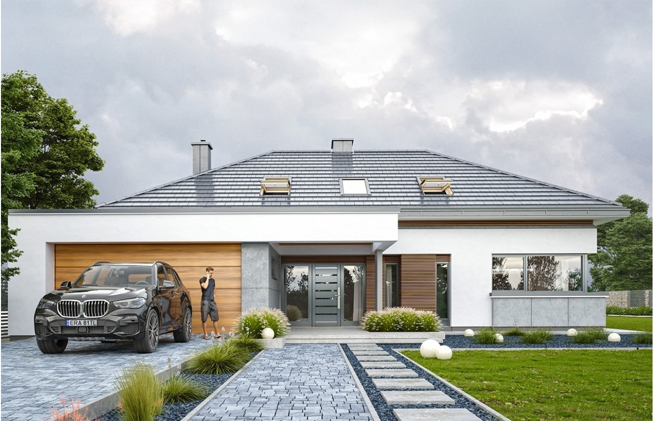 Projekt domu Hiacynt 2 - wizualizacja frontu