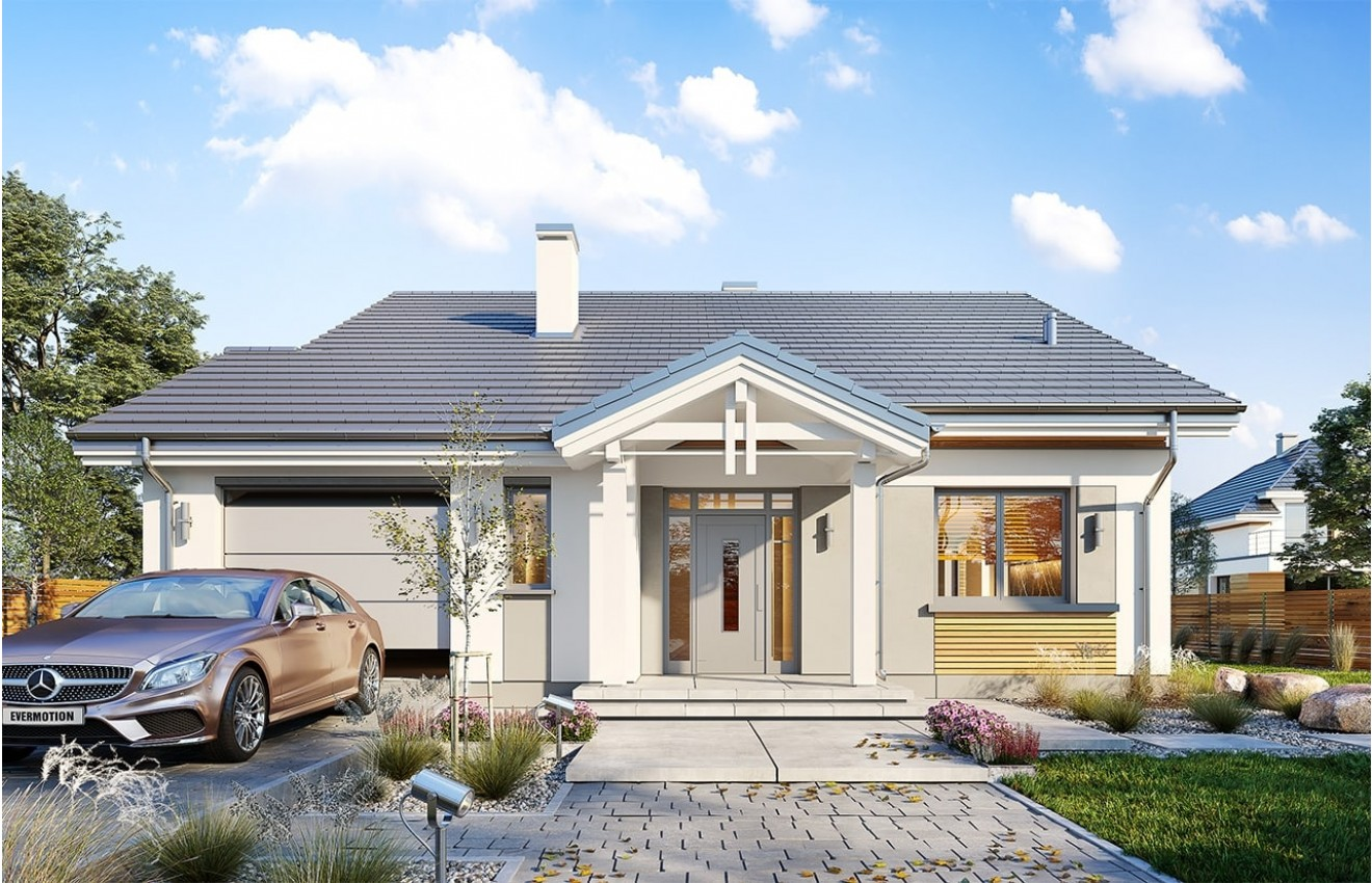 Projekt domu Parterowy wąski 2 - wizualizacja frontowa