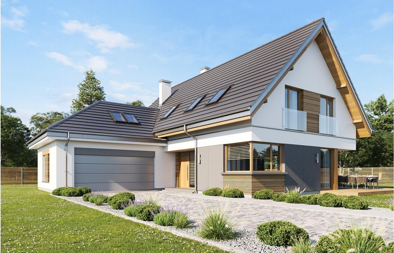 Projekt domu Viking 5 wariant B wizualizacja frontowa