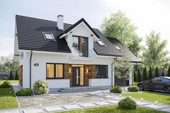 Projekt domu Narcyz - wizualizacja frontu