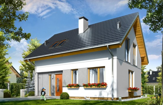 Projekt domu Ania - wizualizacja frontu