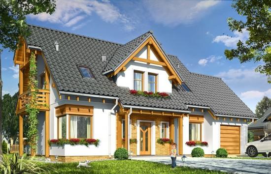 Projekt domu Bartek - wizualizacja frontowa