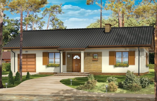 Projekt domu Bursztyn - wizualizacja frontowa