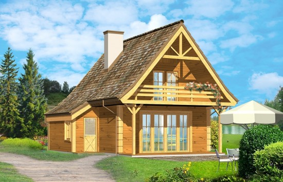 Projekt domu Chatka drewniana - wizualizacja frontowa