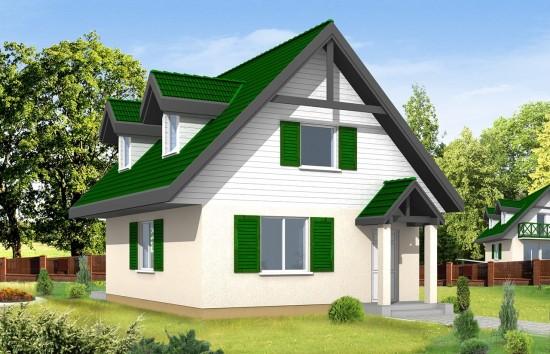 Projekt domu D03 - wizualizacja frontowa